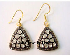 925 Sterling Silver Victorian Earrings Natural Diamond Polki & Pave Diamond