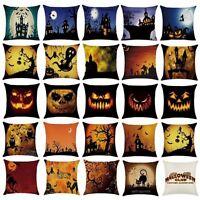 Halloween Cotton Pumpkin Print Home Decor Sofa Cushion Pillow Case Cover 45*45cm