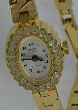 FERO Feldmann - 17 Jewels - Damenuhr mit Zirkonia / Handaufzug / vergoldet