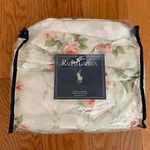 RALPH LAUREN Faye Meadow Way Floral QUEEN Bedskirt White w Pink Roses New!