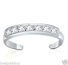 Ring Real Solid 14K White Gold Adjustable Channel Set Round Cut Cz Toe