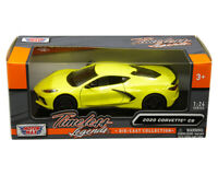 MOTOR MAX 1:24  SCALE 2020 YELLOW CHEVY CORVETTE C8 STINGRAY DIECAST CAR 79360YL