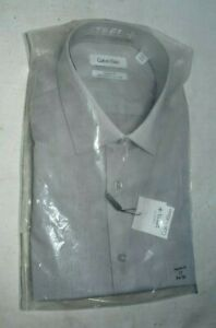 Calvin Klein Steel Men's Regular Classic Fit Solid Dress Shirt Grey