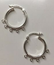 Sterling Silver Earring Hoops with 5 rings 20mm findings CGM 7397-5S