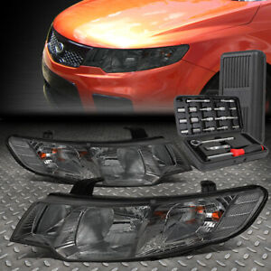 FOR 10-13 FORTE KOUP SMOKED HOUSING CLEAR CORNER HEADLIGHT HEAD LAMPS+TOOL SET