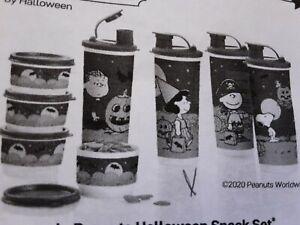 Tupperware 4 cups 4 snack cups Peanuts Halloween Snack Set