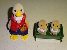 Sylvanian Families Waddlington Duck Family & Baby Bed Tony VGC Vintage Toys