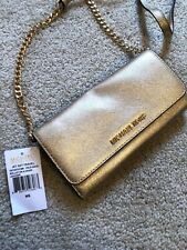 Michael Kors Jet Set Wallet On Chain Gold Crossbody New