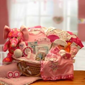 """Precious Petals Deluxe Moses Basket/33"""" Reed Moses Carrier Filled w/Baby Gifts"""