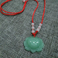 Green Jade Carved Lotus Flower Pendant Necklace Beads Rope Chain Lucky