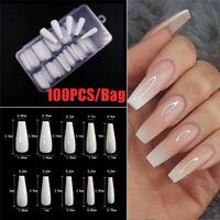 100Pcs Full Cover False Nail Tips Ballerina Long Coffin Fake Nails Art Manicure