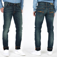 B-Ware Neu Nudie Herren Slim Fit Stretch Jeans - Grim Tim Deep Blue W30 L32