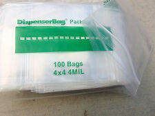 "4MIL  4""x4"" ZipLock Bags 100 Square Reclosable Bags Heavy Duty Reloc 4x4 Bags"