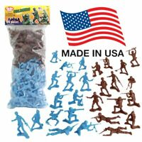 TimMee Plastic Army Men: Cyan vs Rust 96pc Toy Soldier Figures - Made in USA