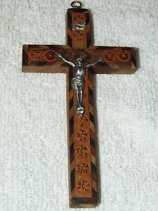 Antique Jerusalem Blessed Cavalry Olive Wood Crucifix with Nazareth Reliquary