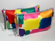 2x Clinique Cosmetic Wristlet Makeup Bag (blue, yellow, green, pink)