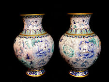 "11"" VINTAGE CHINESE BLUE THOUSAND FLOWER CLOISONNE PAIR VASE"