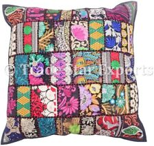 Indian Vintage Square Pillow Case 18x18 Embroidery Patchwork Throw Cushion Cover