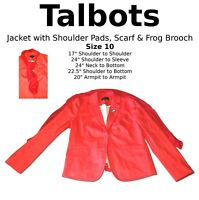Red Talbots Suit Jacket Women's Size 10 Shoulder Pads Scarf Frog Brooch Pin Gift