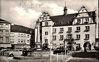 DARMSTADT um 1955 AK Strassen Partie Parkplatz Autos Brunnen Zigarren Geschäft