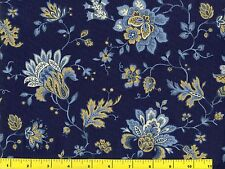 Blue & Gold Victorian Flowers on Blue Quilting Fabric by Yard  #667