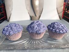 Faux Cupcake Set Of 3 Purple Home Decor Fake Food Decoration