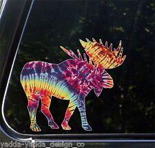 """CLR:CAR - Rainbow Tie-Dye Moose - Car Vinyl Decal ©YYDC(5.5""""w x 5""""h)"""