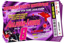 BIRTHDAY PARTY INVITATIONS Laser Tag Quest PINK ticket style