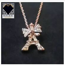 MACKRI Classic Gold Chain Necklace with Crystal Encrusted Ribbon Eiffel Tower Pe