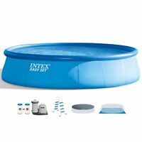 """Intex 18' x 48"""" Inflatable Easy Set Above Ground Swimming Pool Ladder & Pump"""