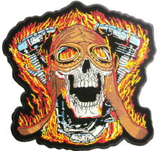 "Flaming V2 Twin Speed Demon Skull Hog Rider Jumbo XL Vest Back Patch 8""x7"""
