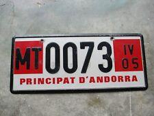 Andorra Principat Temp. 2005 license plate  #  73