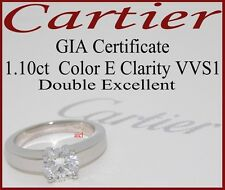CARTIER PLAT DECLARATION D'AMOUR DIAMOND SOLITAIRE RING ~GIA CERT 1.10ct E VVS1