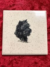Vintage Affenpinscher Portrait On Tile Elizabeth Harvey Treharne Signed Dog Rare