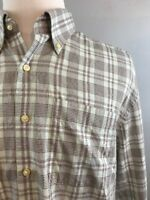 Peter Millar Dress Shirt Casual Plaid Button Collar Cotton Mens XL Brown Green