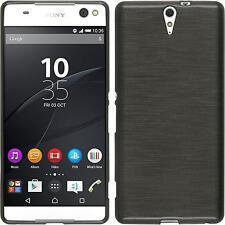 Funda de silicona Sony Xperia C5 Ultra brushed - plata + protector de pantalla