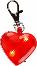 LED Leucht-Herz Hunde LED Blinki Leuchtanhänger für Halsband mit Karabinerhaken