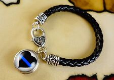 BLUE LINE HEART POLICE snap button charm on Black leather silver gift bracelet