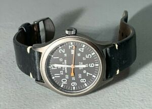 MENS TIMEX EXPEDITION GUN METAL GRAY FIELD ANALOG BLACK LEATHER BAND WATCH