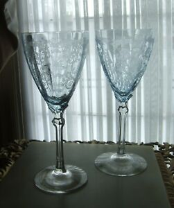 TWO VINTAGE VERSAILLES ETCHED AZURE BOWL WATER GOBLETS BY FOSTORIA!