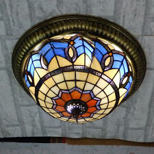Stained Glass 3-Lights Tiffany Ceiling Light Traditional Baroque Design Lamp