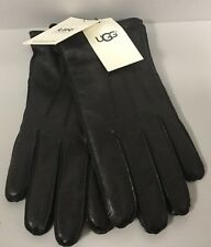 Ugg M Metisse Black leather Tabbed vent Touch Screen Gloves Large