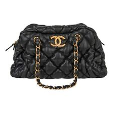 Chanel Bag Bubble Bowler Quilted Lambskin Black Gold Hardware