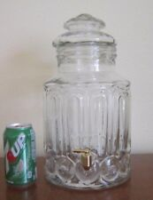 L. E. Smith?, Moon & Stars Clear Glass, 1.5 gallon Liquid Container with Spigot