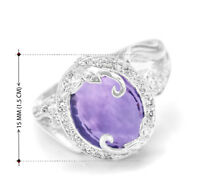Natural Purple Amethyst Sterling Silver Ring 925 Gemstone Handmade Size 5 - 12