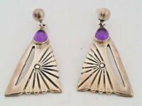 Vtg AMETHYST & STERLING SILVER Drop / Dangle Pierced EARRINGS Sun Design MEXICO
