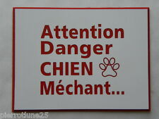 "plaque  boite aux lettres  ""ATTENTION DANGER CHIEN MECHANT"" Ft 50x65mm"