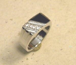 Men's Black Onyx w 4 Clear CZ's Rhodium Plated Fashion Flat Top Ring Size 9.75