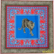 "VERSACE blue & red LEOPARD & Baroque MUSES 34""-square Silk scarf NEW Authentic!"