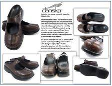 Women's Dansko Midori Brown Leather Mary Jane Mule Clogs: Size 41 Euro